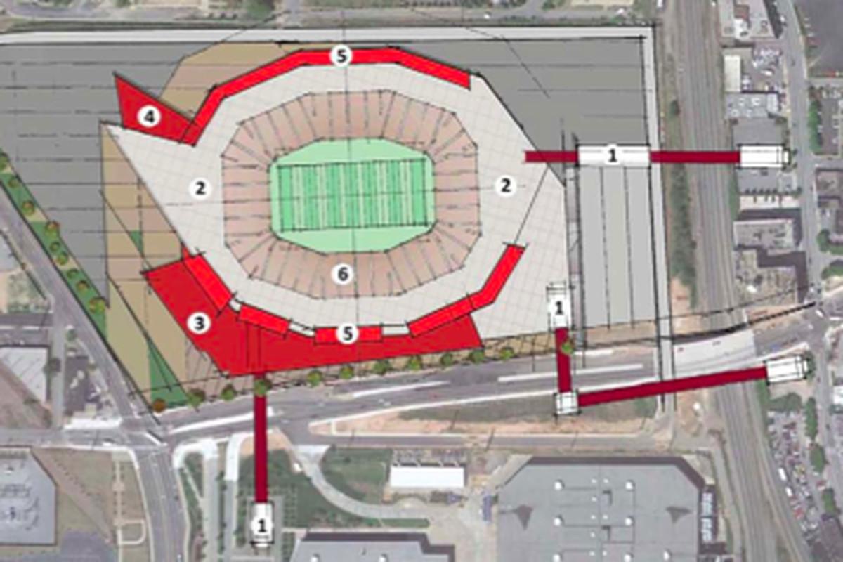 A diagram of the proposed open-air Atlanta Falcons stadium on Georgia World Congress Center land.