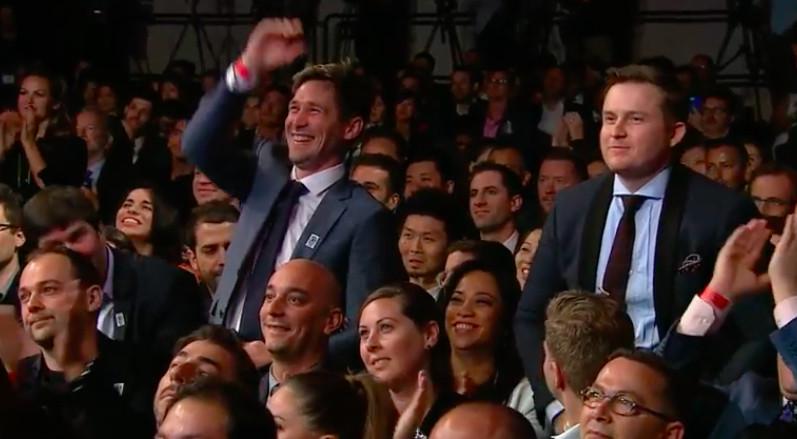 Scott Clark (left) with Joshua Skenes (right), celebrating Saison's spot on the World's 50 Best Restaurants list