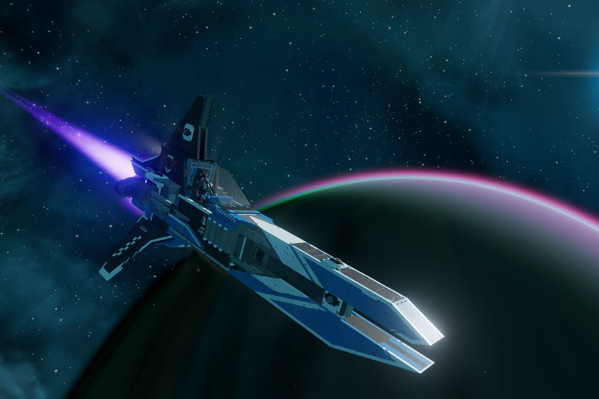 A small, single-seat purple starship from Starbase, by Trine developer Frozenbyte Games.