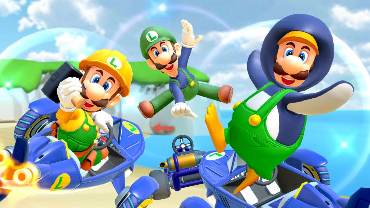 Builder Luigi (left), Classic Luigi (center) and Penguin Luigi (right)
