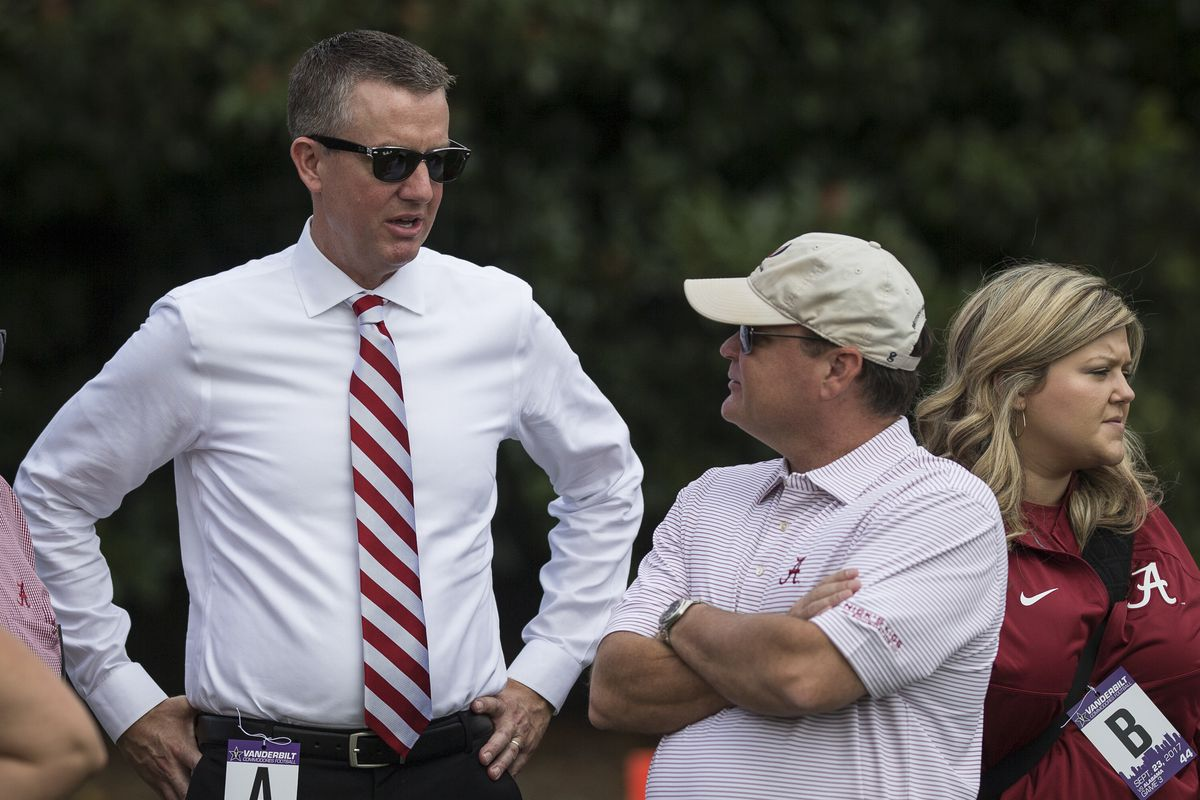 Alabama athletic director Greg Byrne before a college football game between the Vanderbilt Commodores and the Alabama Crimson Tide on September 23, 2017 at Commodore Stadium in Nashville, TN.