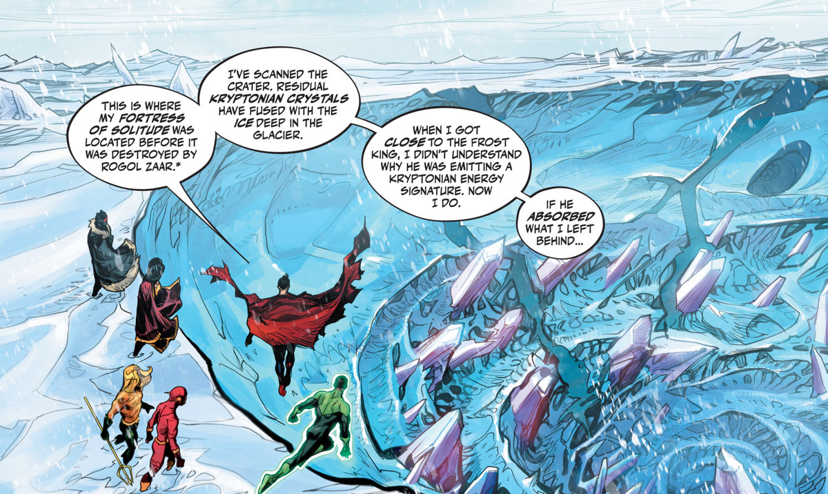 """Batman, Wonder Woman, Aquaman, the Flash, Green Lantern, and Superman stand at the edge of a massive dig site in the Arctic. """"This is where my Fortress of Solitude was located before it was destroyed by Rogol Zaar,"""" Superman says, in Justice League: Endless Winter #1, DC Comics (2020)."""