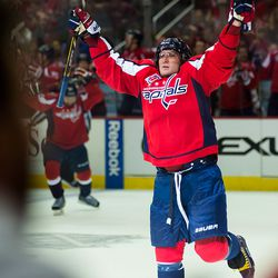 Ovechkin Celebrates His First of the Night
