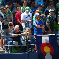 Not shy, this man brandishes the Centennial State colors at CenturyLink Field in Seattle (39,196).