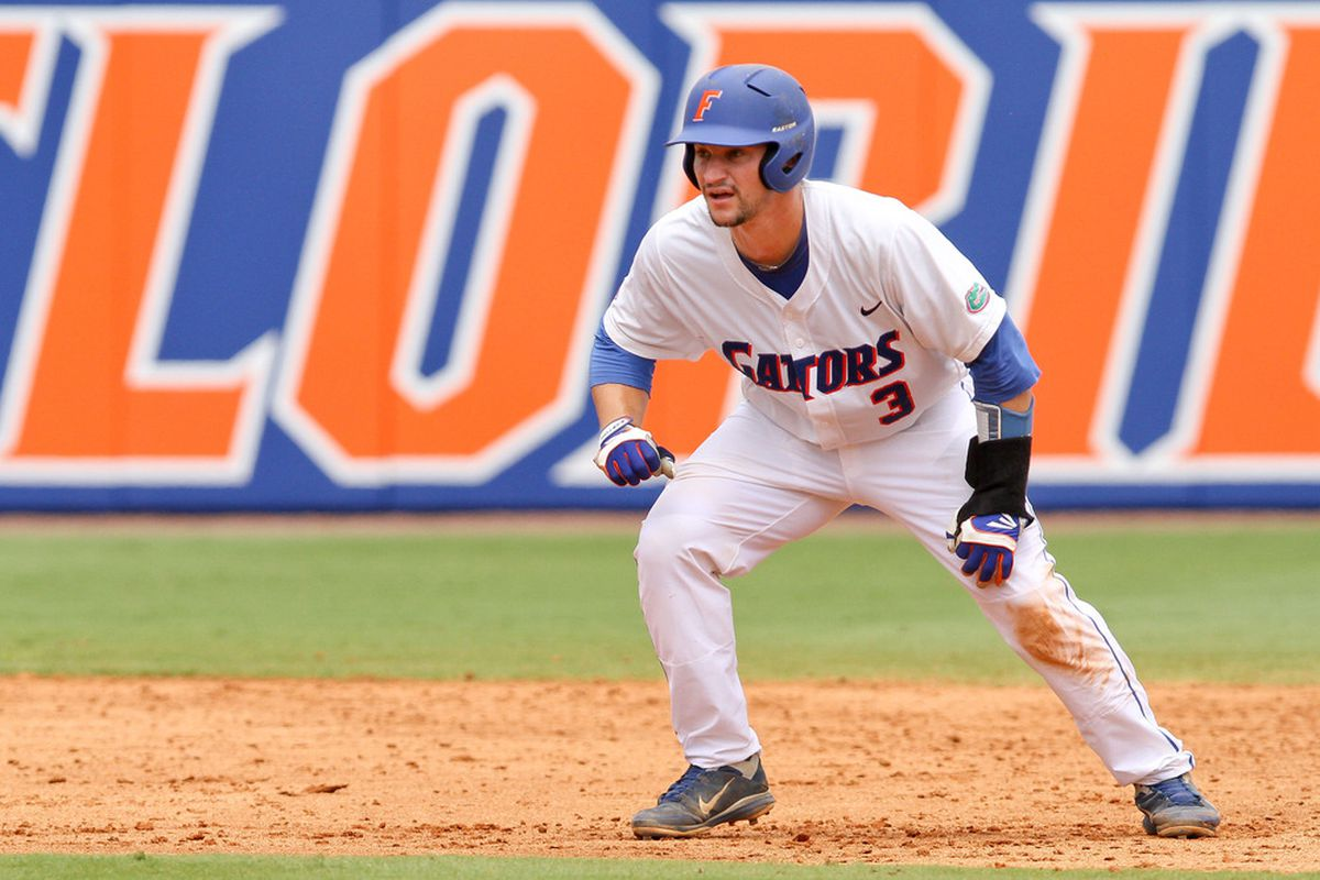 June 9, 2012; Gainesville, FL, USA; Florida Gators catcher Mike Zunino leads off second base during game one of the Gainesville super regional at McKethan Stadium.  Mandatory Credit: Rob Foldy-US PRESSWIRE