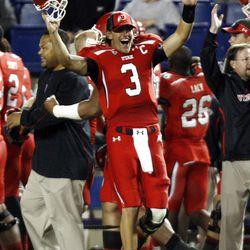 Utah's #3 Jordan Wynn celebrates a defensive score as BYU and Utah play Saturday, Sept. 17, 2011. Utah won 54-10.