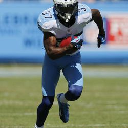 Tennessee Titans special teams player Tommie Campbell runs a punt back 65 yards for a touchdown after taking a pass from kick-returner Darius Reynaud against the Detroit Lions in the first quarter of an NFL football game on Sunday, Sept. 23, 2012, in Nashville, Tenn.