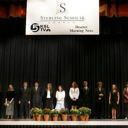 2009 Sterling Scholar finalists line the stage at Cottonwood High School Wednesday. In its 47th year, the program strives to emphasize academic recognition.