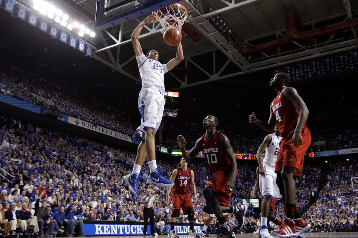 LEXINGTON, KY - DECEMBER 31: Anthony Davis #23 of the Kentucky Wildcats dunks the ball during during the game against the Louisville Cardinals at Rupp Arena on December 31, 2011 in Lexington, Kentucky. (Photo by Andy Lyons/Getty Images)