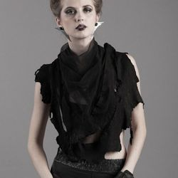 """<a href=""""http://thisistheorder.com/shopaw13/sectio-divina-scarf"""">Sectio Divina Scarf</a>, $128. A silk tulle scarf with raw-edged leather trim."""