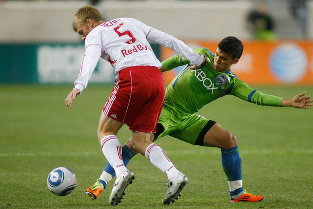 One of many times that Tim Ream and the Red Bull defense kept the ball away from Fredy Montero