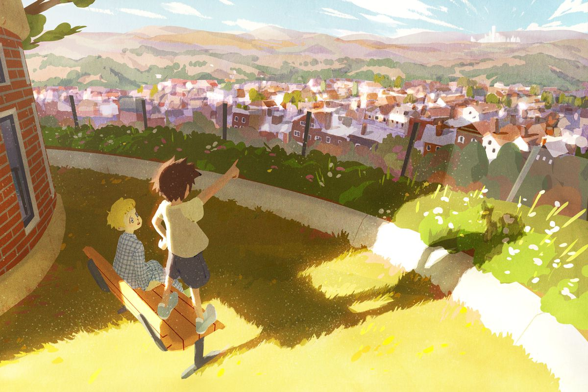 Two children stand overlooking the Galar region, key art from the new seven-episode Galar region animated series