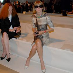Anna Wintour takes her seat early at Donna Karan, with Grace Coddington too.