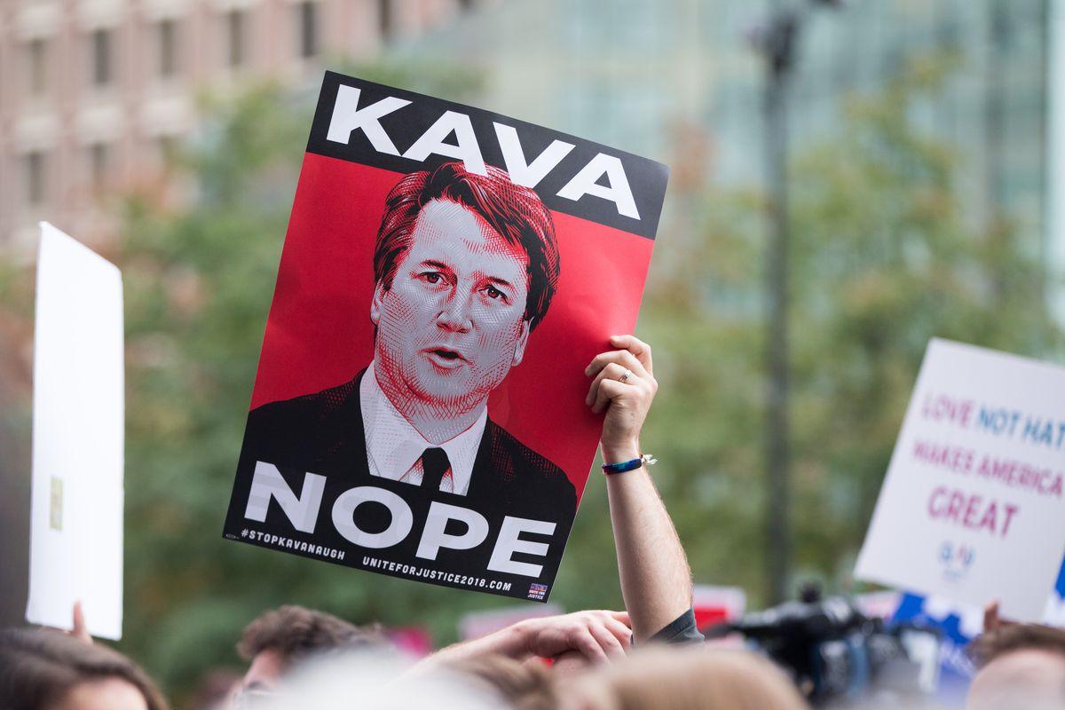 Protesters call on senators to reject Brett Kavanaugh's nomination in Boston, Massachusetts in October 2018.