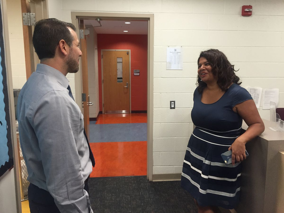 Education Achievement Authority Chancellor Veronica Conforme stopped by the Mumford Academy while making her rounds on the first day of school