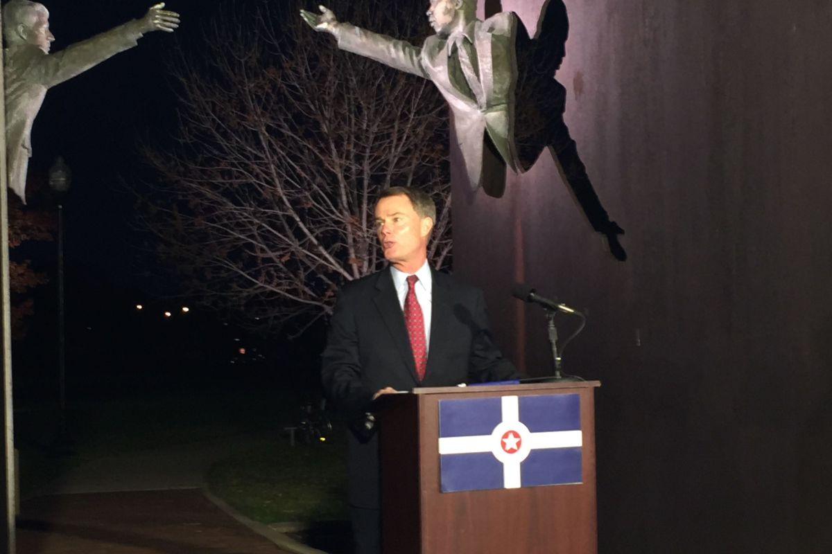 Democrat Joe Hogsett announced a run for mayor last month at the Landmark for Peace monument in King Park.