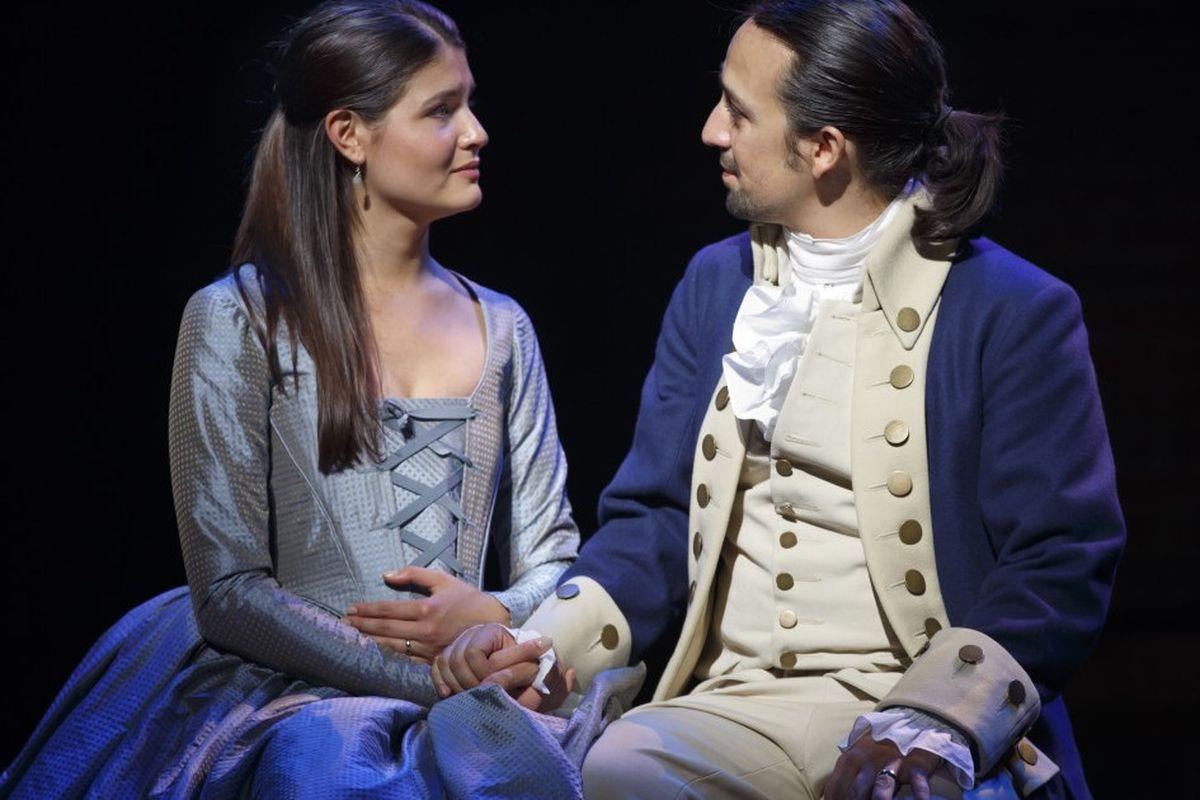 "Phillipa Soo and Lin-Manuel Miranda star in the original Broadway production of ""Hamilton."""
