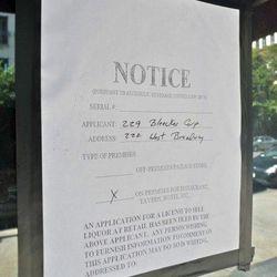 "Liquor license notice for a possible Tribeca location of Aria, via <a href=""http://tribecacitizen.com/2012/10/01/seen-heard-new-wine-bar/"">Tribeca Citizen</a>."