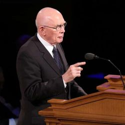 FILE - Elder Dallin H. Oaks of the Quorum of the Twelve Apostles speaks at the funeral services for Elder L. Tom Perry, a member of the Quorum of the Twelve Apostles of The Church of Jesus Christ of Latter-day Saints, are held Friday, June 5, in the Salt Lake Tabernacle on Temple Square