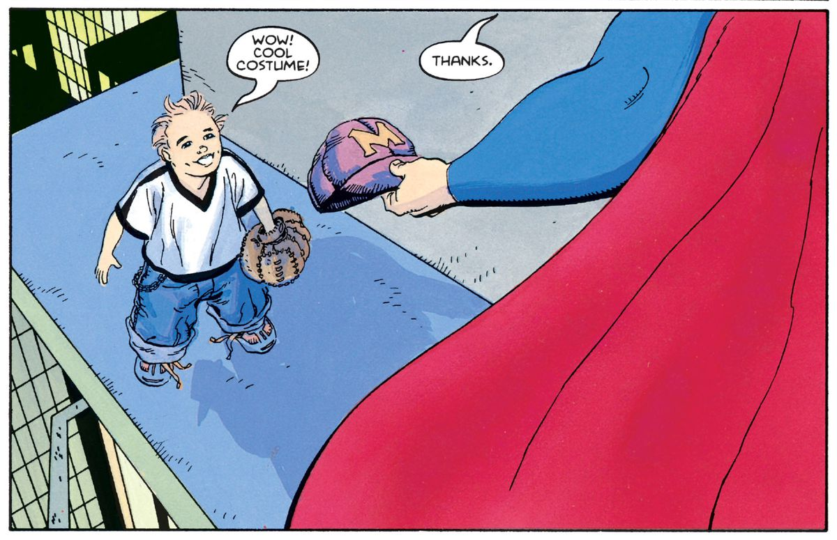 """Wow, cool costume!"" says a little boy. ""Thanks,"" Superman says, handing him back his baseball cap, in Superman For All Seasons #1, DC Comics (1998)."