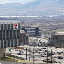 Businesses in Lehi are seeon on Wednesday, March 23, 2016.  Salt Lake County's population of 1.1 million is almost double that of Utah County, the state's next most populous county. But Utah County could soon be gaining a larger number of people each year than its neighbor to the north thanks to a thriving tech industry and overall economic opportunity that bring in a steady stream of new residents.