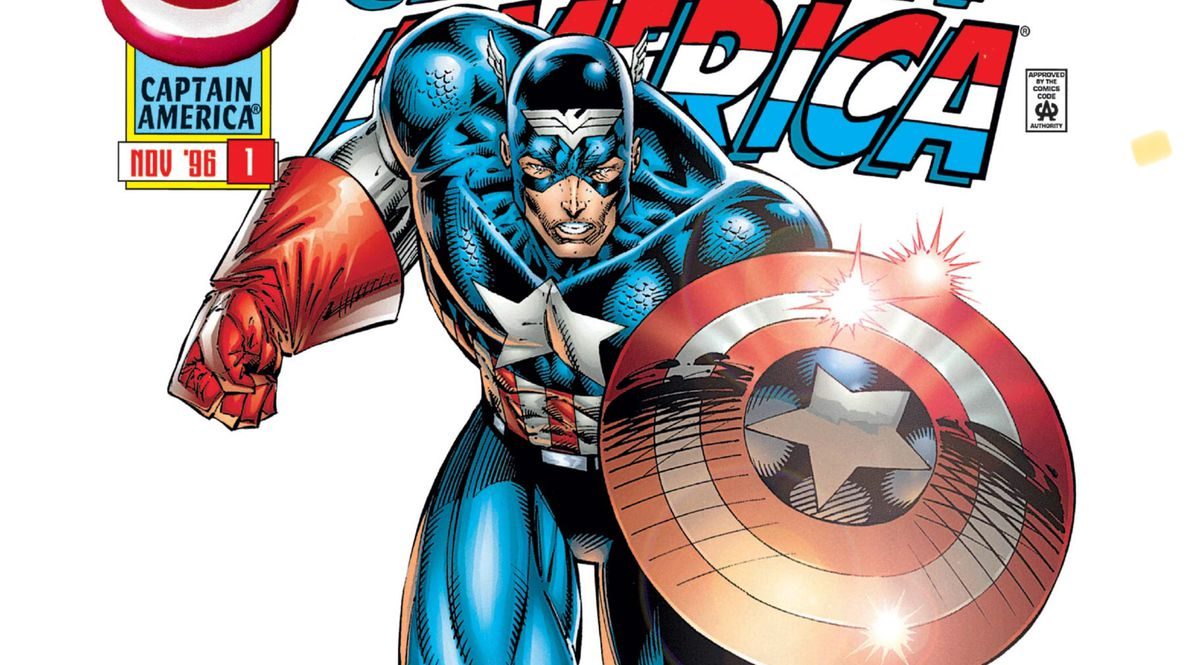 Captain America runs towards the viewer on the cover of Captain America #1, Marvel Comics (1996).