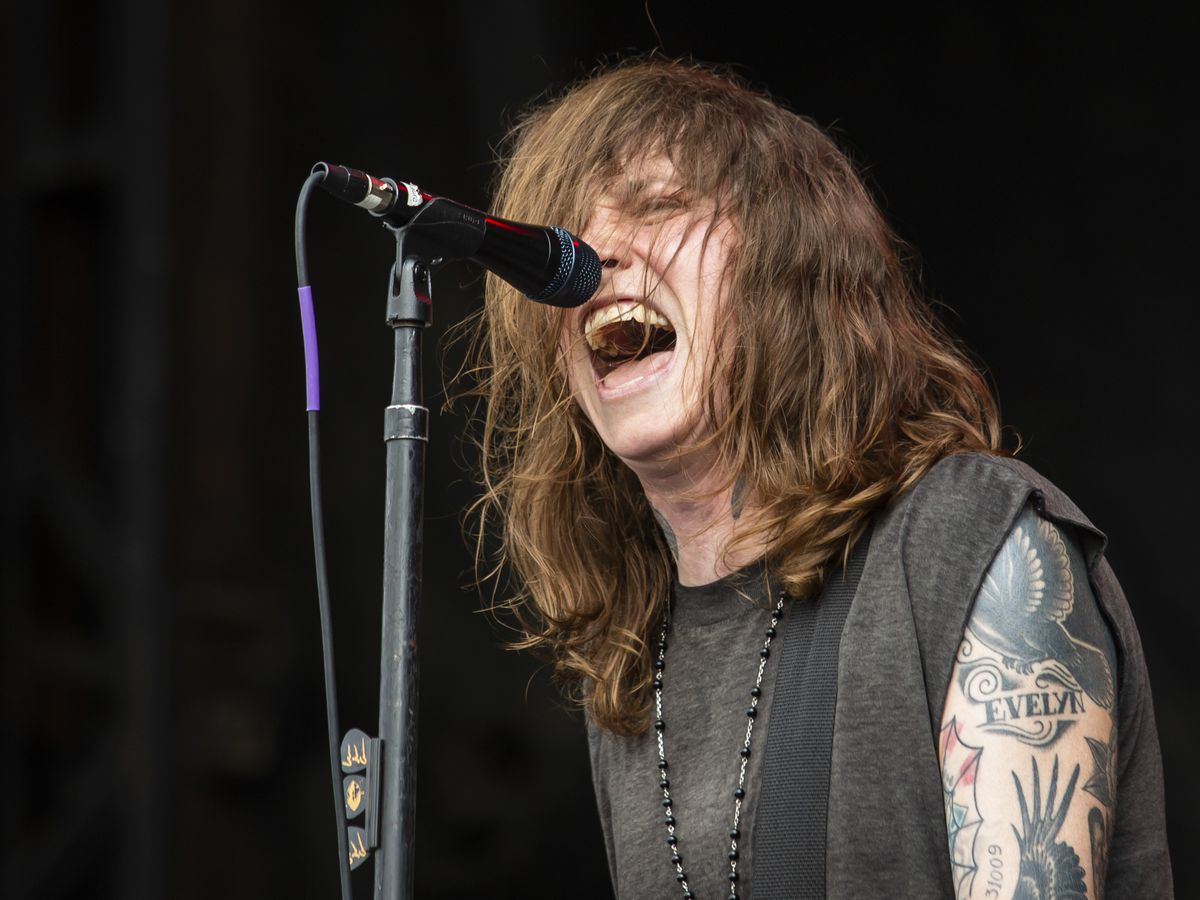 Laura Jane Grace, of Against Me!, performs on day three of Riot Fest in Douglas Park, Sunday afternoon, Sept. 15, 2019.