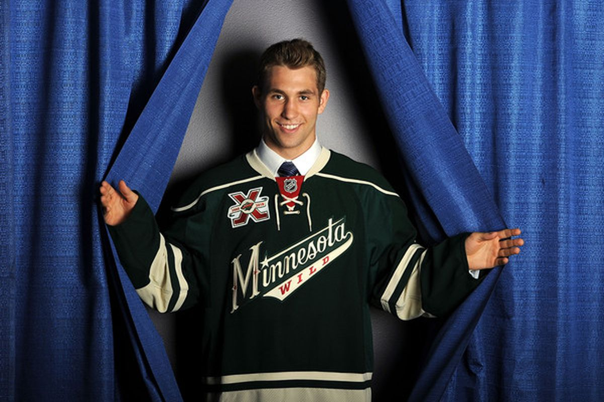 LOS ANGELES, CA - JUNE 26:  Jason Zucker, drafted in the second round by the Minnesota Wild poses for a portrait during the 2010 NHL Entry Draft at Staples Center on June 26, 2010 in Los Angeles, California.  (Photo by Harry How/Getty Images)