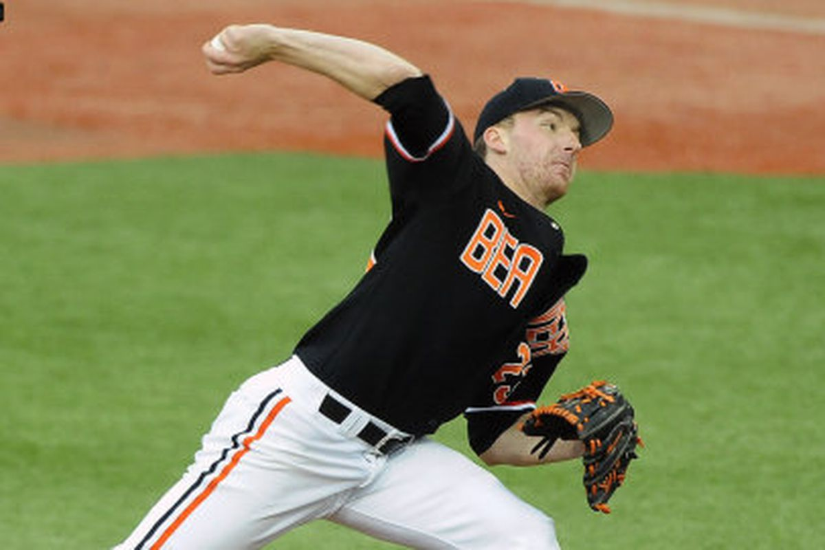 Freshman pitcher Andrew Moore (from the OSU Athletic site: http://www.osubeavers.com/sports/m-basebl/recaps/030213aac.html)