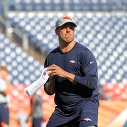 Quarterback for the Denver Broncos Case Keenum warms up before the pre-season game against the Chicago Bears.