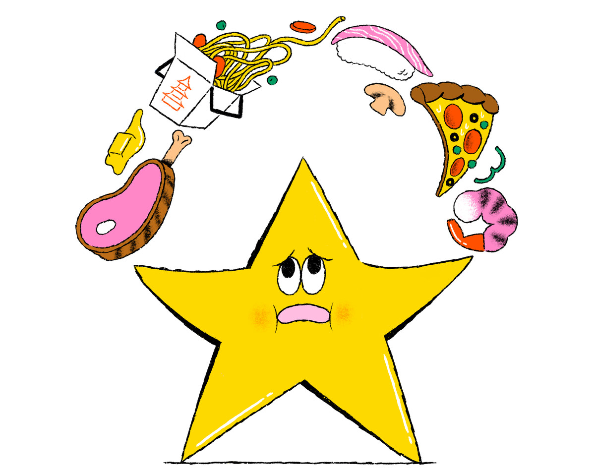 A yellow star juggles prime rib, pizza, shrimp, Chinese noodles, sushi, and other dishes above its head