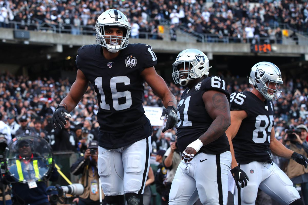 Oakland Raiders wide receiver Tyrell Williams (16) reacts after catching a touchdown pass against the Jacksonville Jaguars in the first quarter at Oakland Coliseum.