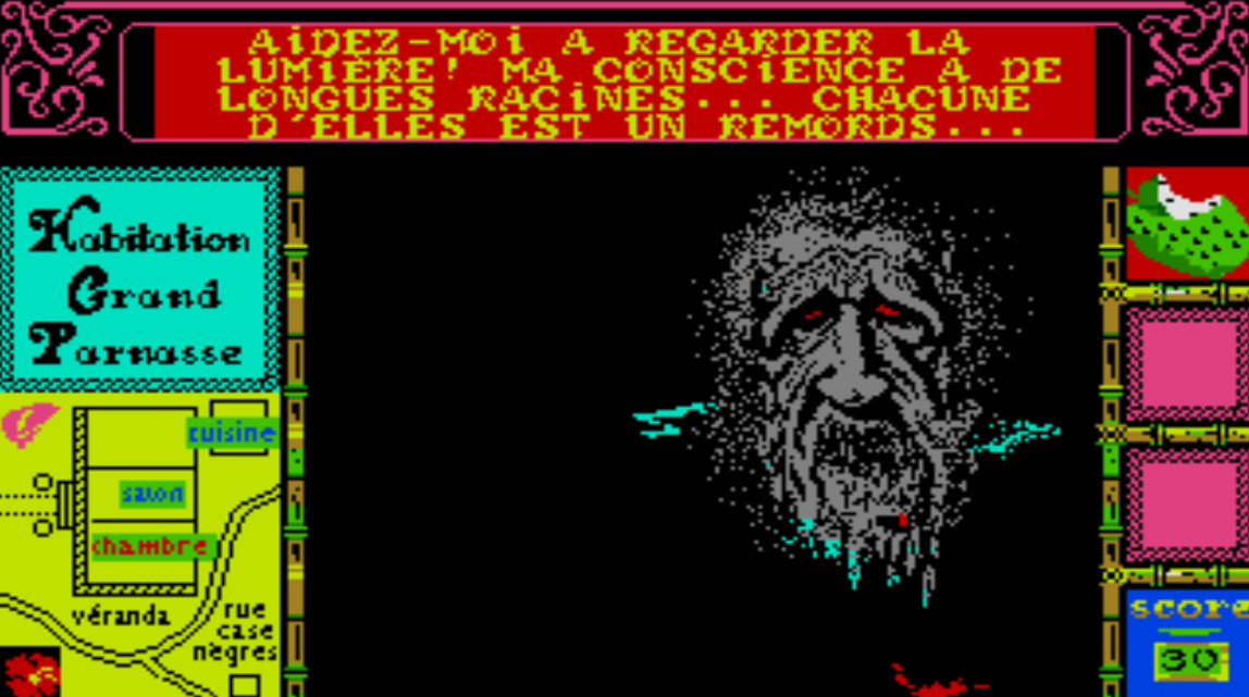 Screenshot of a colorful adventure game, with a horrifying, grey, bleeding ghost staring back at the player.