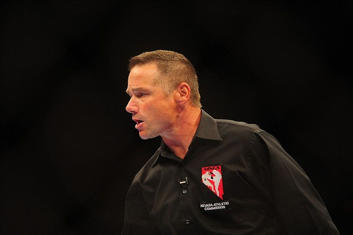 Oct. 29, 2011; Las Vegas, NV, USA; UFC referee Steve Mazzagatti during a middleweight bout during UFC 137 at the Mandalay Bay event center.