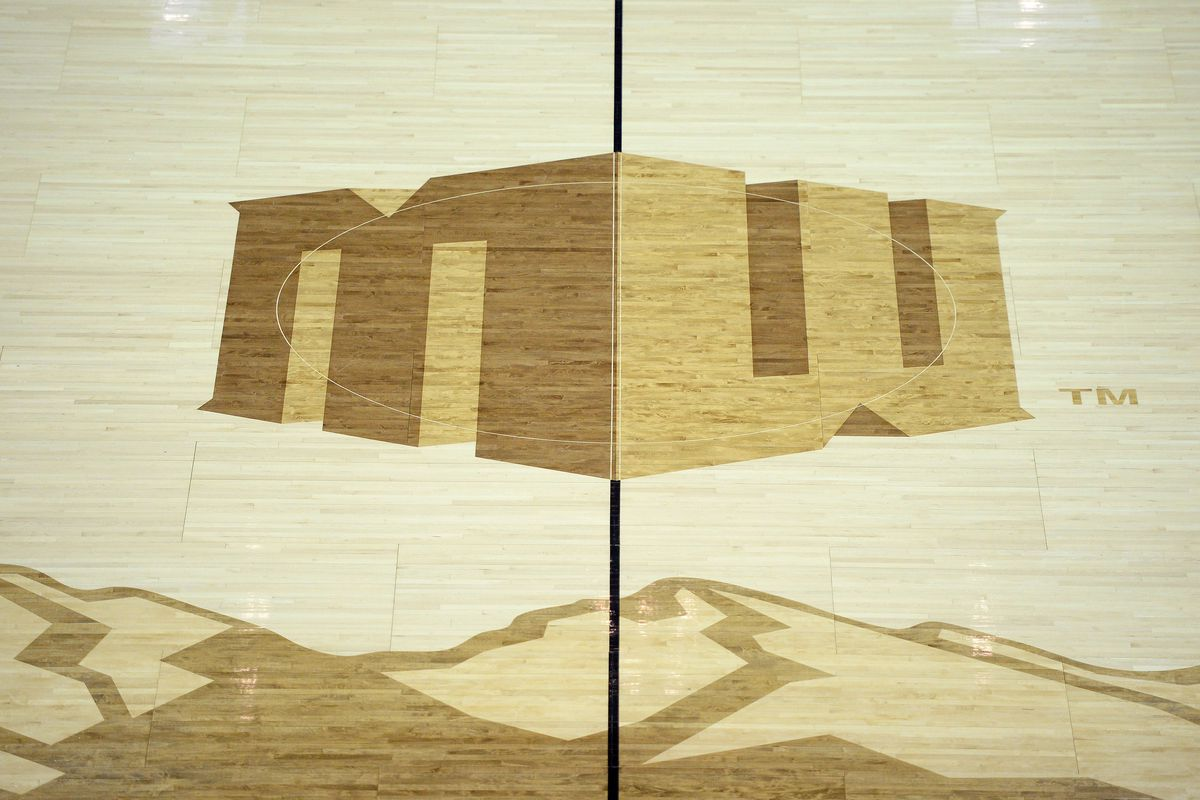 A detailed view of the midcourt logo during the first half of a Mountain West Conference tournament game between the UNLV Rebels and Boise State Broncos at Thomas Mack Center.