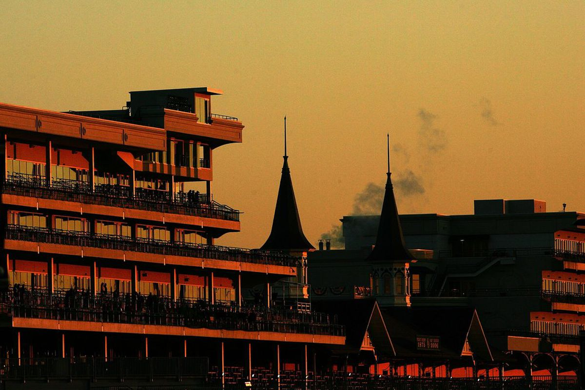 LOUISVILLE, KY - NOVEMBER 02: A general view of the twin spires and new renovation of the clubhouse at sunrise ahead of the Breeders' Cup at Churchill Downs November 2, 2006 in Louisville, Kentucky. (Photo by Matthew Stockman/Getty Images)