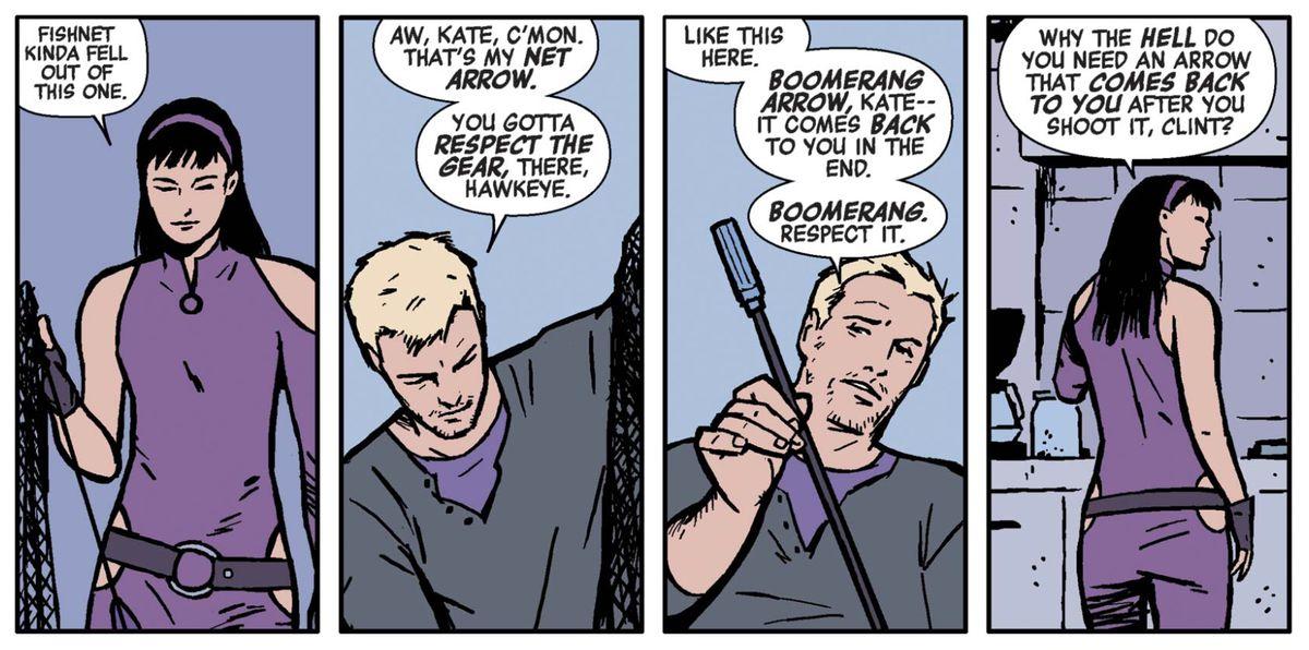 Kate Bishop and Clint Barton in Hawkeye #2, Marvel Comics (2012).
