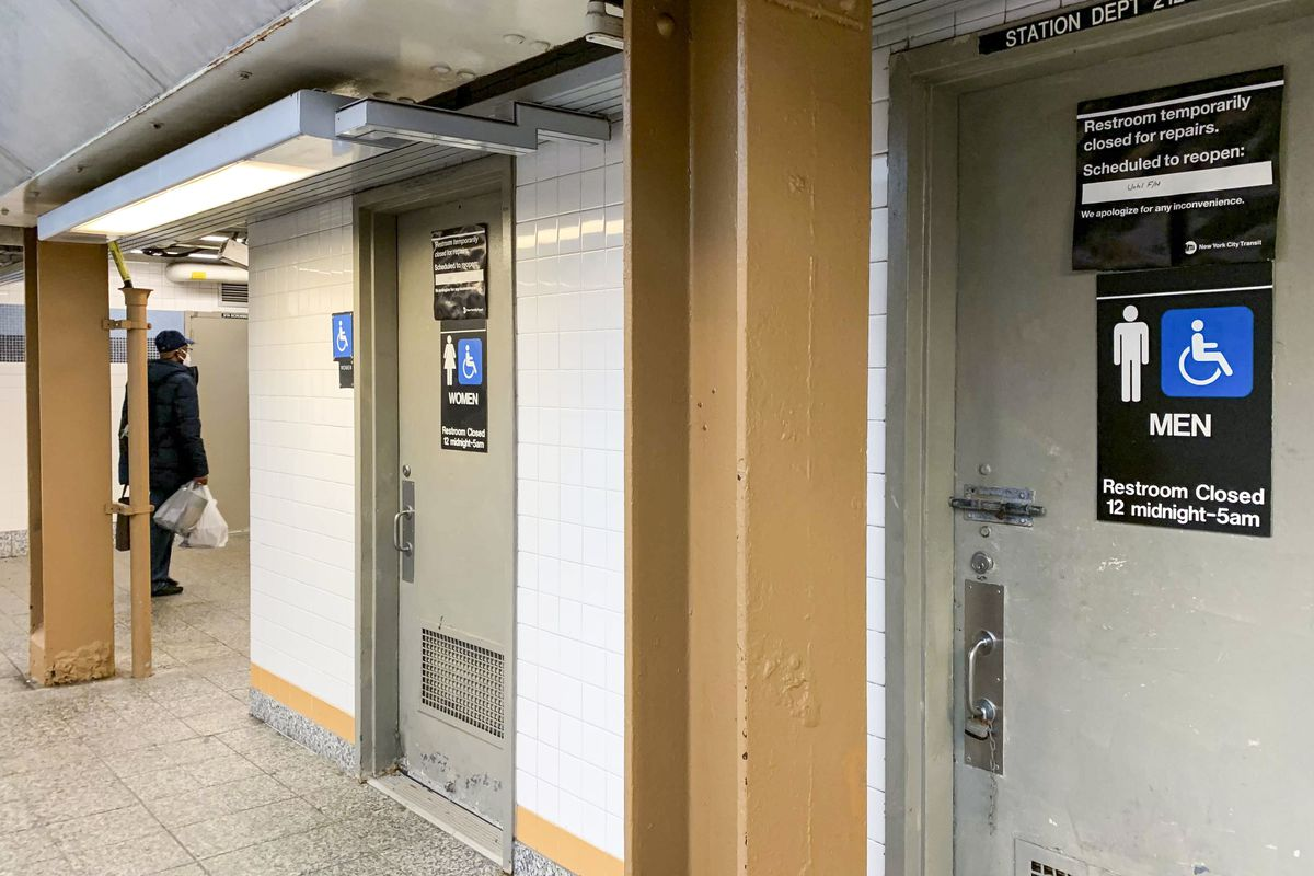 Closed bathrooms at the 161st Street station (B/D/4) in The Bronx, April 27, 2021.