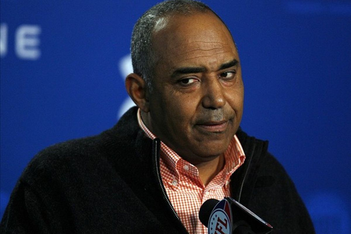Feb 24, 2012; Indianapolis, IN, USA; Cincinnati Bengals coach Marvin Lewis speaks at a press conference during the NFL Combine at Lucas Oil Stadium. Mandatory Credit: Brian Spurlock-US PRESSWIRE