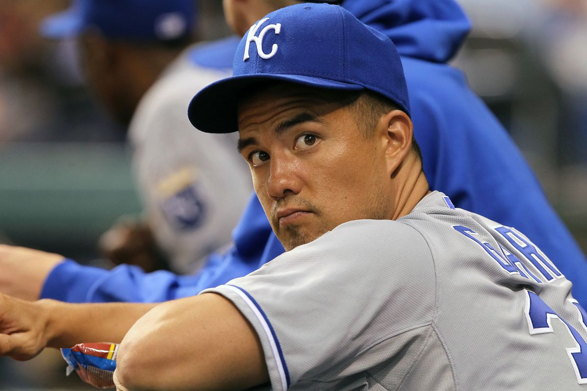 August 21, 2012; St. Petersburg, FL, USA; Kansas City Royals pitcher Jeremy Guthrie (33) in the dugout during the game against the Tampa Bay Rays at Tropicana Field. Mandatory Credit: Kim Klement-US PRESSWIRE