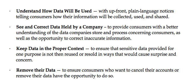 Main principles in new White House consumer privacy Bill of Rights proposal