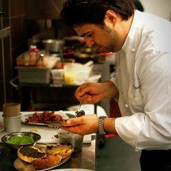Chef Albisu prepping.