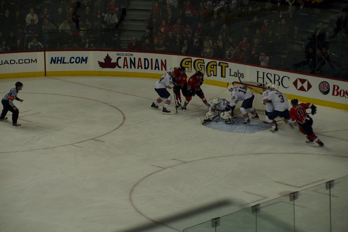 Milan Kytnar visits his own net while in the Calgary Saddledome. Photo courtesy of Lisa McRitchie all rights reserved.