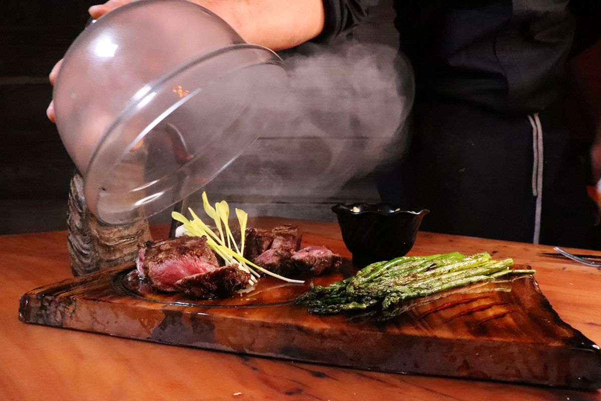 Rib eye on the red meat-centric menu at Primal Steakhouse, now open at the Boulevard Mall.