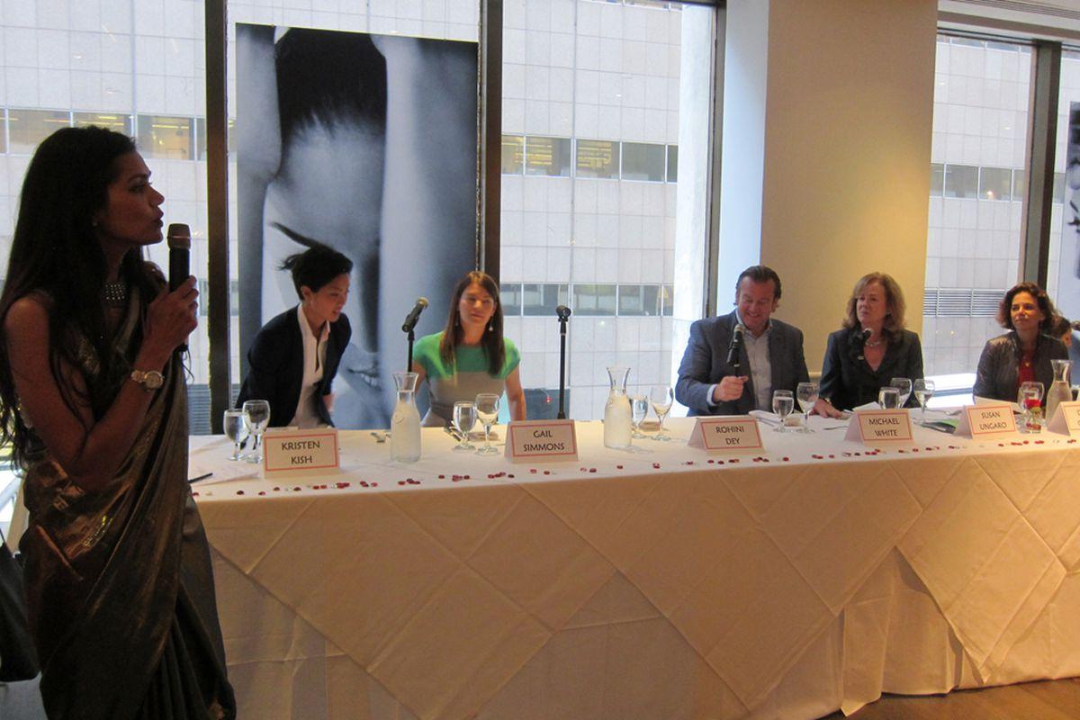 From left: Rohini Dey, Kristen Kish, Gail Simmons, Michael White, Susan Ungaro, Dana Cowin.