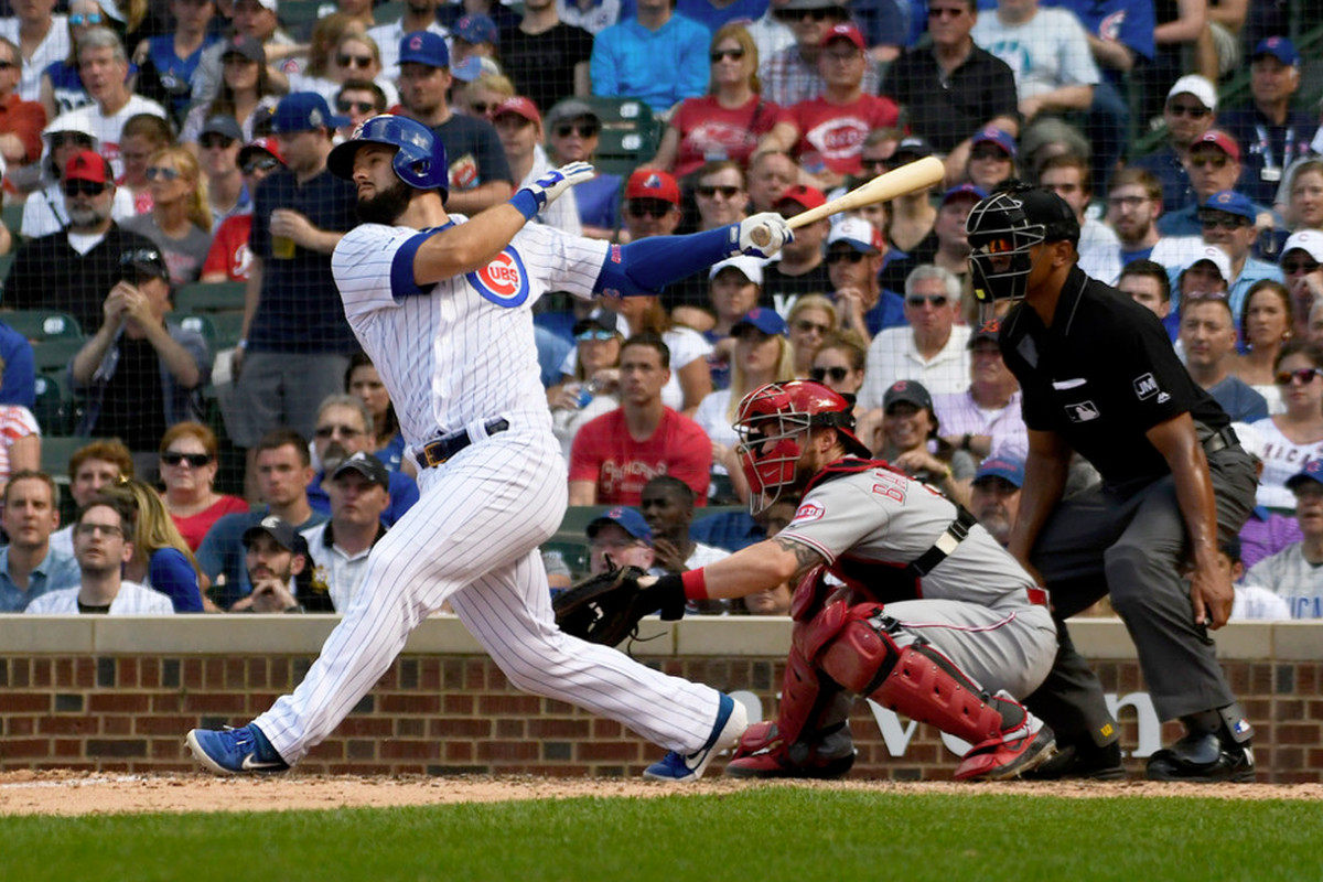 David Bote hits RBI double in 8th inning.