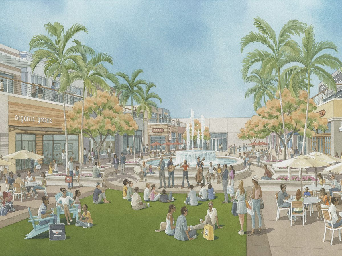 Pastel illustration of people mingling ad eating outdoors at tables under umbrellas in a landscaped plaza with a large fountain in the center. They're surrounded on two sides by two-story buildings filled with shops and restaurants.