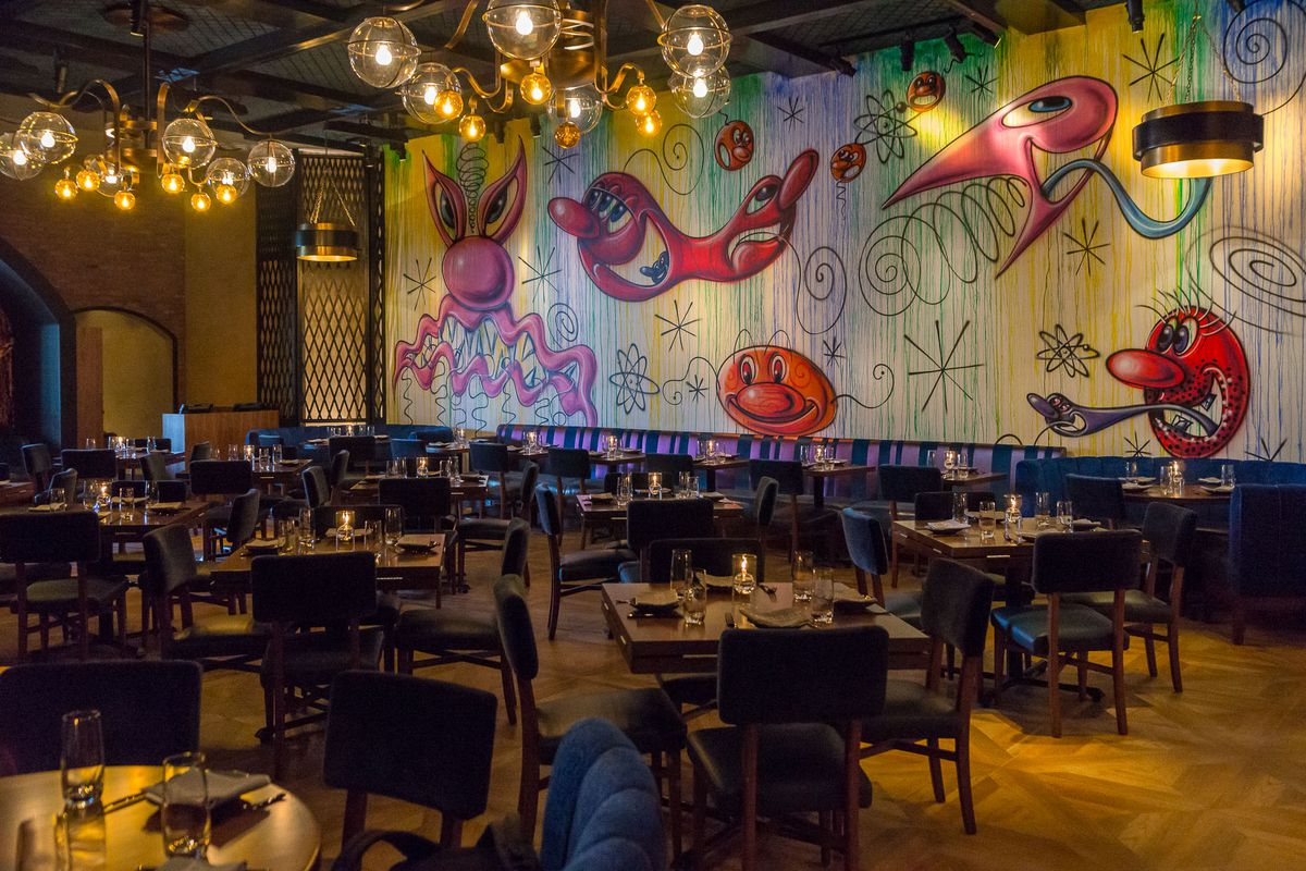 Mural by Kenny Scharf at Greene St. Kitchen