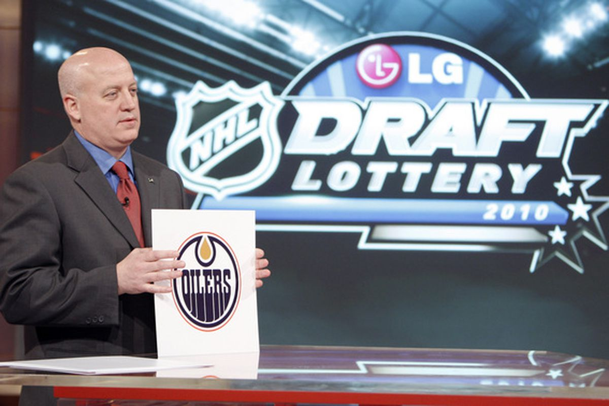 TORONTO - APRIL 13: Deputy Commissioner of the NHL Bill Daly announces top pick to the Edmonton Oilers during the NHL Draft Lottery Drawing at the TSN Studio April 13, 2010 in Toronto, Ontario, Canada. (Photo by Abelimages / Getty Images for NHL)