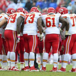 Oct 6, 2013; Nashville, TN, USA; The Kansas City Chiefs offensive squad huddles in a game against the Tennessee Titans during the second half at LP Field. The Chiefs beat the Titans 26-17.